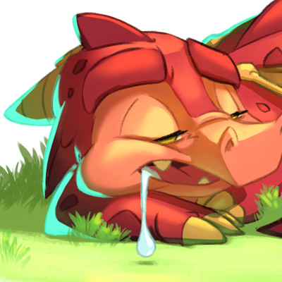 Little nap - Cartoon illustration of a little sleepy dragon