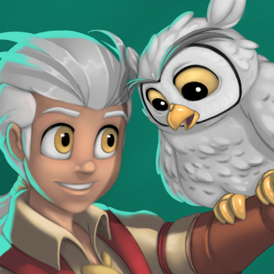 Friendship - Cartoon illustration presentating two friends, a white  owl and a little boy