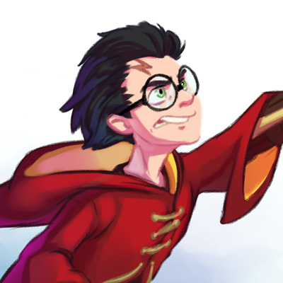 Harry Potter - Fanart, cartoon illustration of Harry Potter durant a quidditch game
