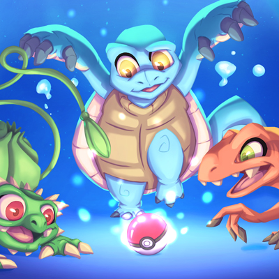 Fan Art of Pokemon first generation - Illustration of bulbasaur, squirtle and charmander