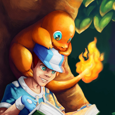Pokemon, break during the trip - Cartoon illustration of a trainer and his pokemon in the forest
