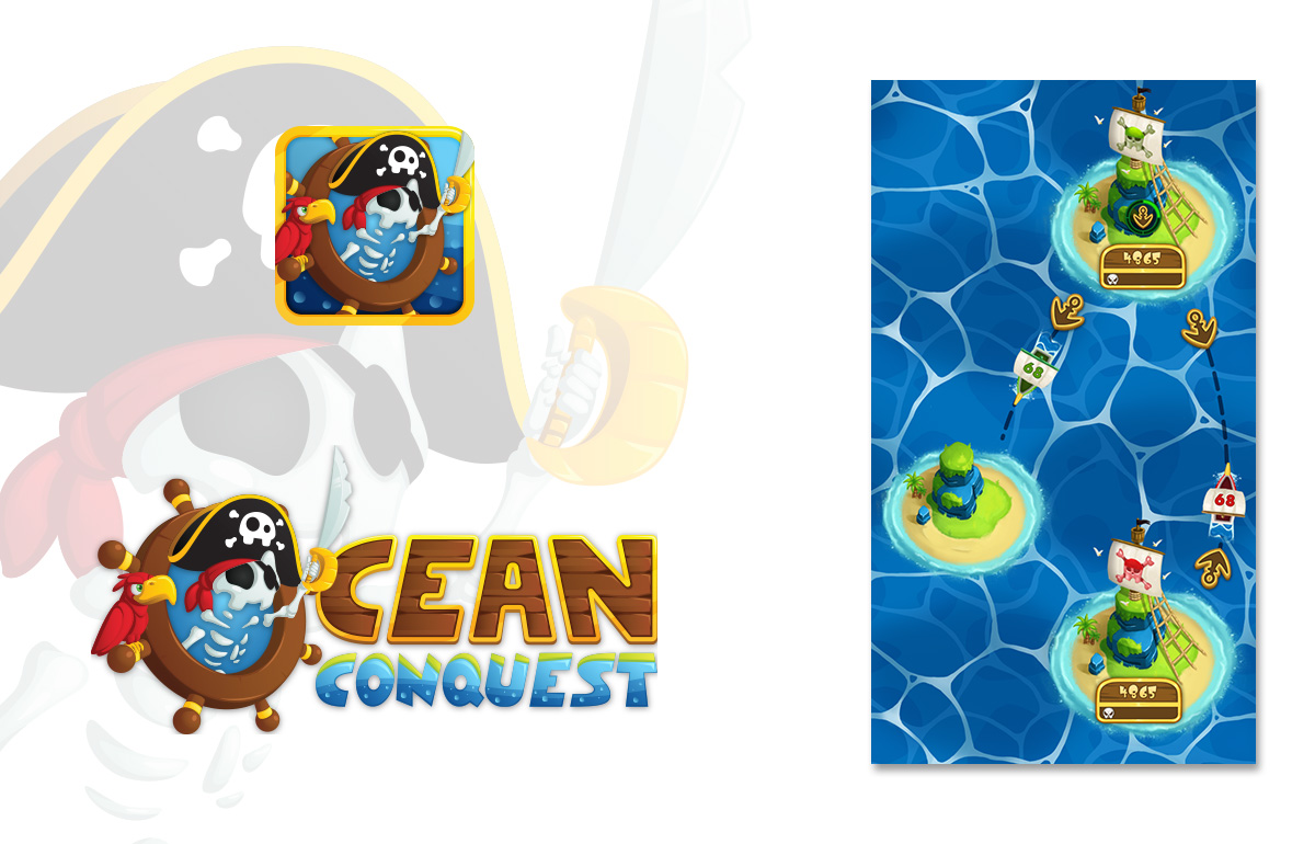 The Ocean Conquest mobile video game logo, icon and interface